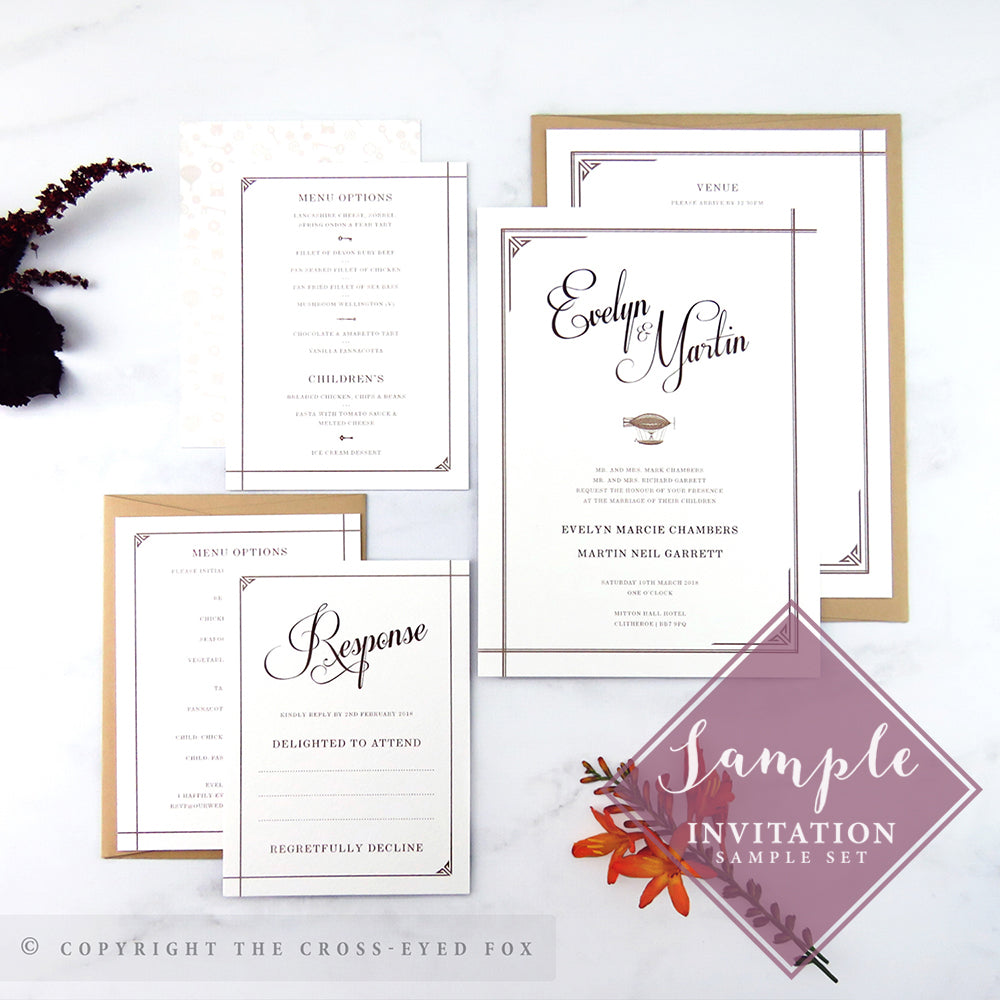 Steampunk Wedding Stationery Set – The Cross-Eyed Fox