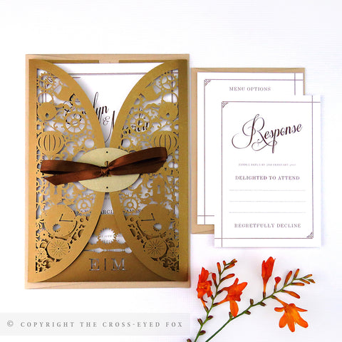 Steampunk Wedding Invitation Gatefold Jacket