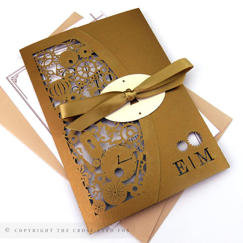 Steampunk Wedding Invitation Single Fold Jacket