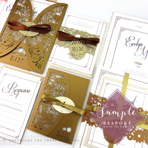 Steampunk | Sample Set Full Collection | Laser Cut Wedding Stationery