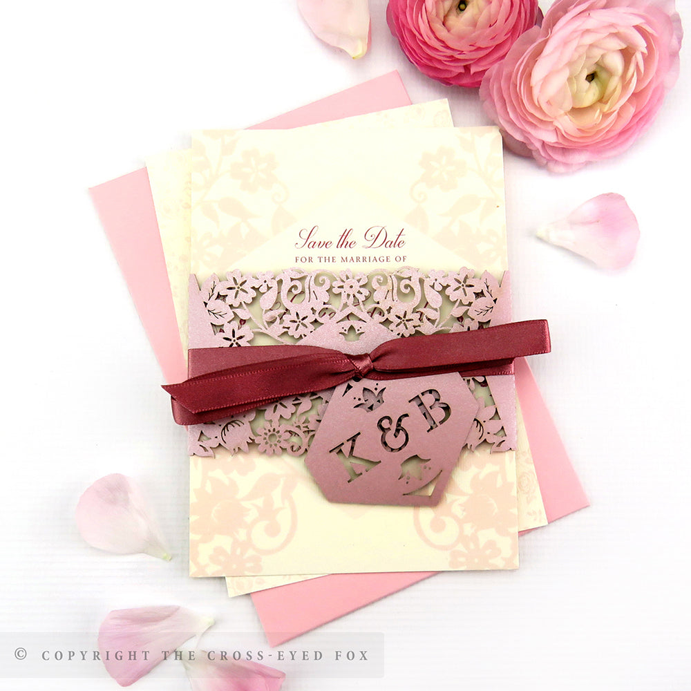 Vintage Roses Wedding Laser Cut Save the Date Belly Band – The Cross ...