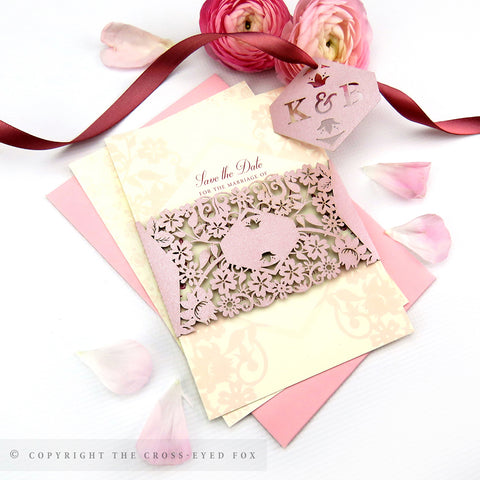 Vintage Roses Wedding Invitation A6 Belly Band