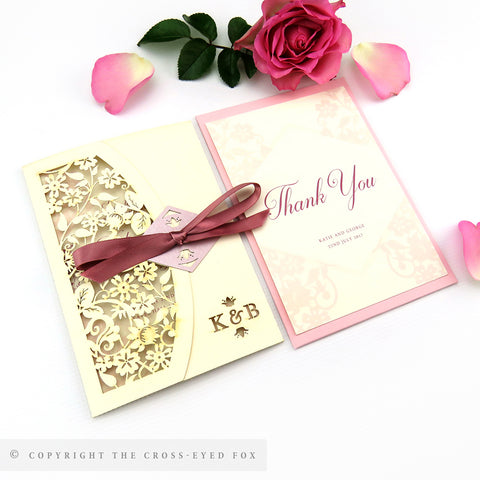 Vintage Roses Wedding Invitation Single Fold Jacket