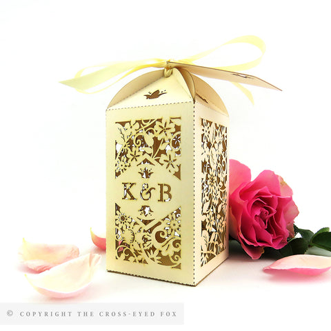 Vintage Roses Tall Personalised Favour/Bottle Boxes