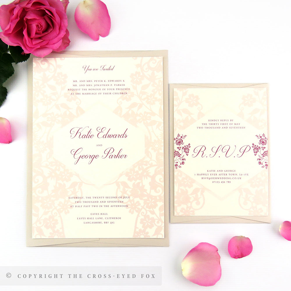 Gothic Wedding Invitations Rose And boarding pass wedding ...