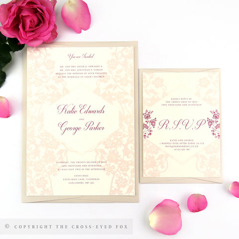 Vintage Roses Wedding Invitations