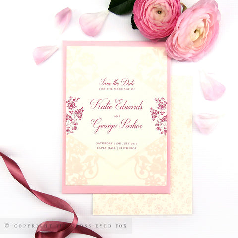 Vintage Roses Wedding Save the Date Cards