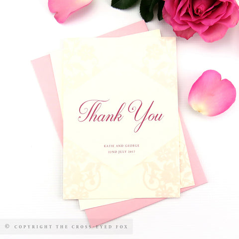 Vintage Roses Wedding Thank You Cards