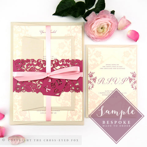 Vintage Roses | Sample Set Wedding Invitation & Belly Band