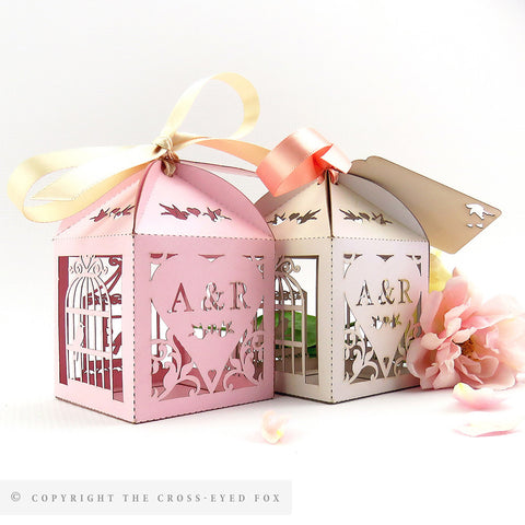 Vintage Birdcage Trio wedding favor box, Laser cut wedding favour box, Rustic personalised favour, Blush wedding table decor