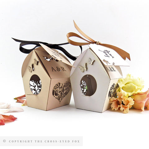 Vintage Birdhouse Personalised Favour Boxes