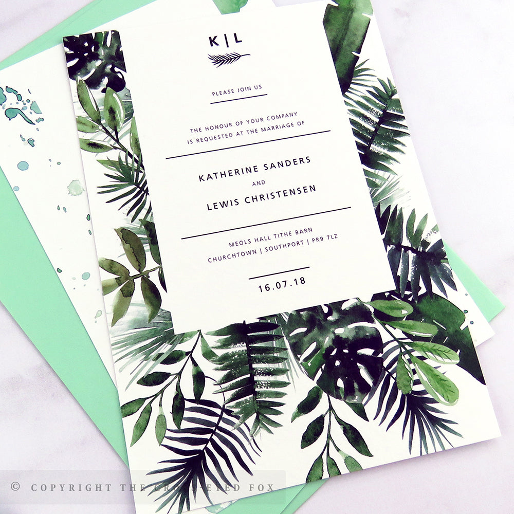 Botanical Tropical | Sample Set Laser Cut Wedding Invitation ...