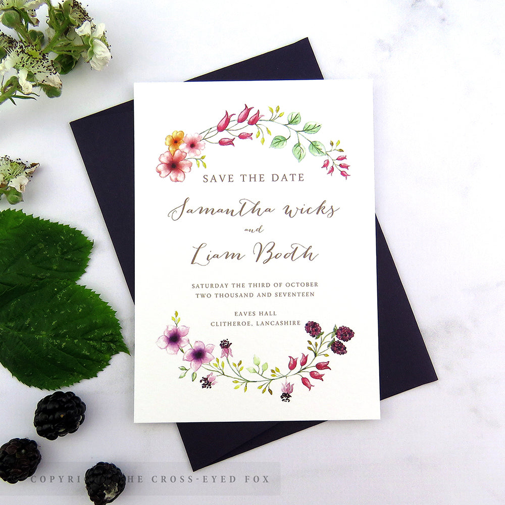 Blackberry Country Brambles Wedding Stationery Set – The Cross-Eyed Fox