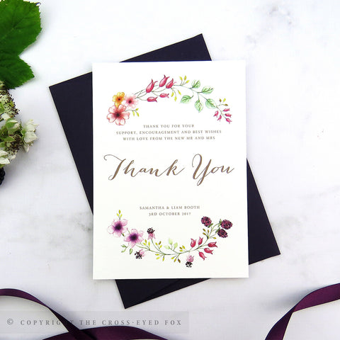 Country Brambles Wedding Thank You Cards