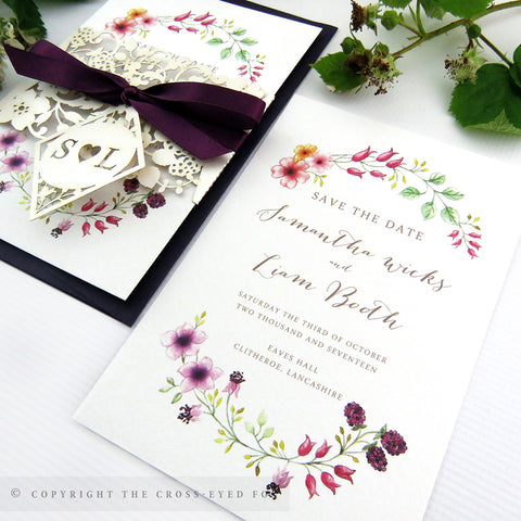 Country Brambles Wedding Invitation A6 Belly Band