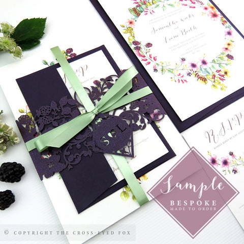 Country Brambles | Sample Set Wedding Invitation & Belly Band