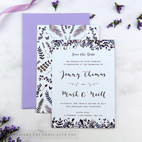 Romantic Butterfly Wedding Save the Date Cards