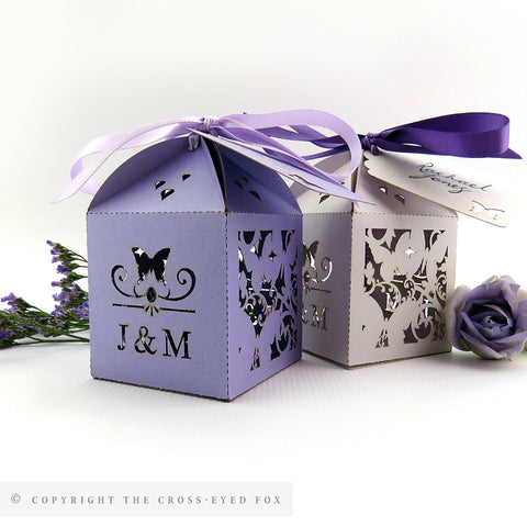 Floral Butterfly Personalised Favour Boxes