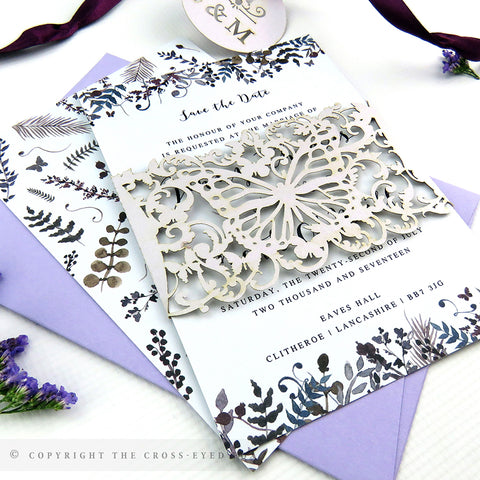 Romantic Butterfly Wedding Invitation A6 Belly Band