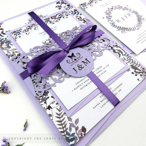 Romantic Butterfly Wedding Invitation A5 Belly Band