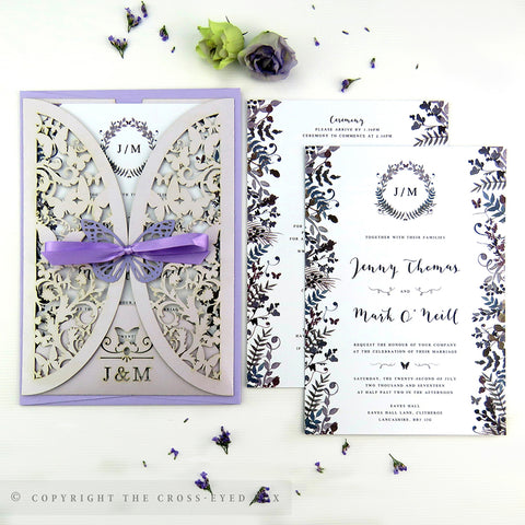 Laser cut wedding invitation jacket, Wedding stationery suite - Watercolour butterfly invite, Floral soft purple wedding, Romantic wedding