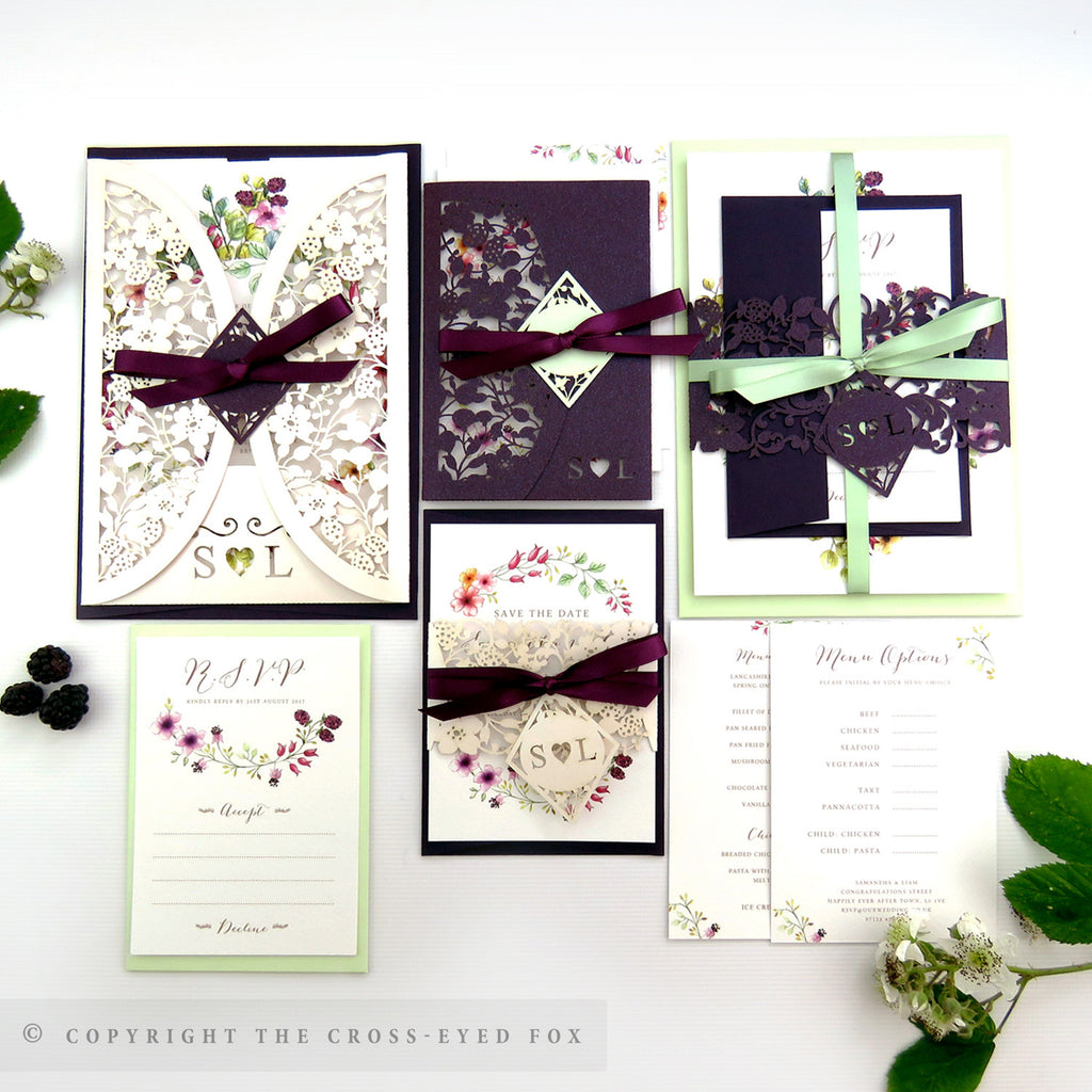 Blackberry Country Brambles Laser Cut Wedding Stationery – The Cross ...