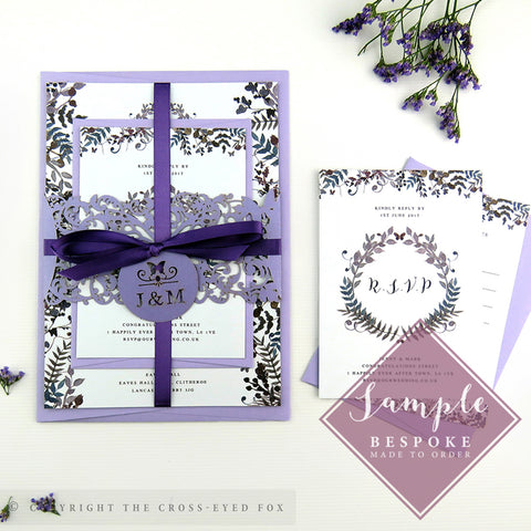 Romantic Butterfly | Sample Set Wedding Invitation & Belly Band