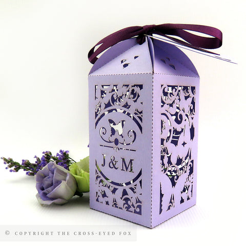 Butterfly Tall Personalised Favour/Bottle Boxes
