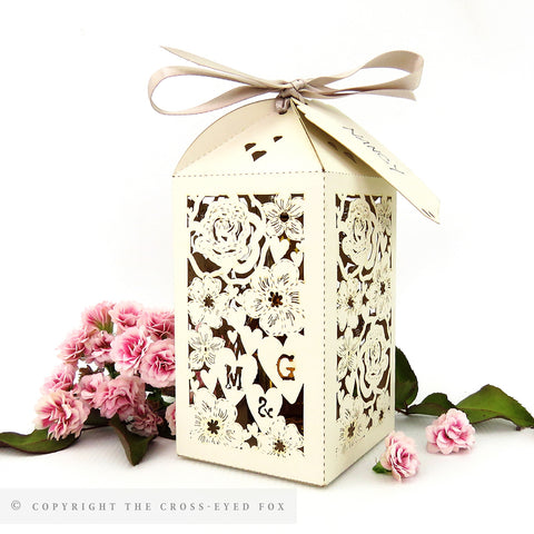 Classic Floral Tall personalised favour/bottle boxes