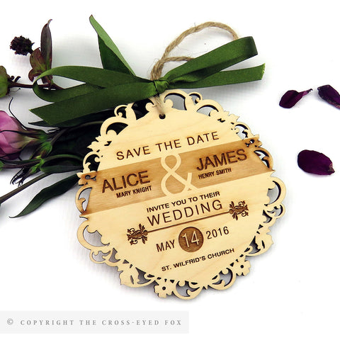 English Country Garden Wooden Save the Date