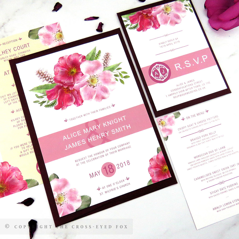English Country Garden Wedding Stationery Set – The Cross-Eyed Fox