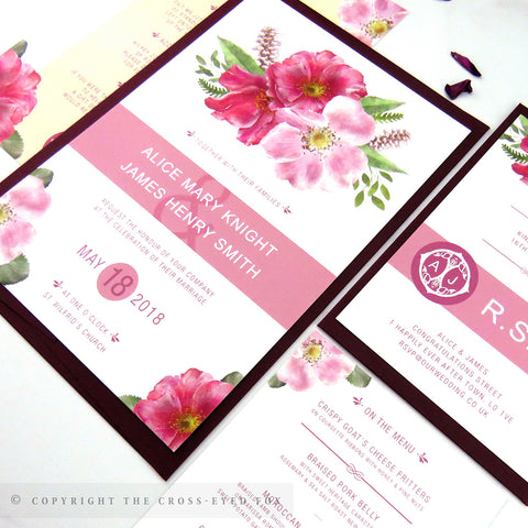 Country Garden watercolour wedding invitation, Romantic wedding, Boho wedding stationery, Summer wedding invitation, Blush wedding invite