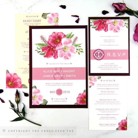 English Country Garden | Sample Set Wedding Invitation & Belly Band