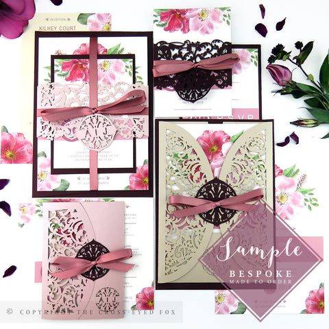 English Country Garden | Sample Set Full Collection | Laser Cut Wedding Stationery