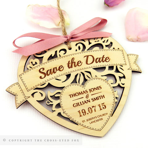 Floral heart wooden save the date