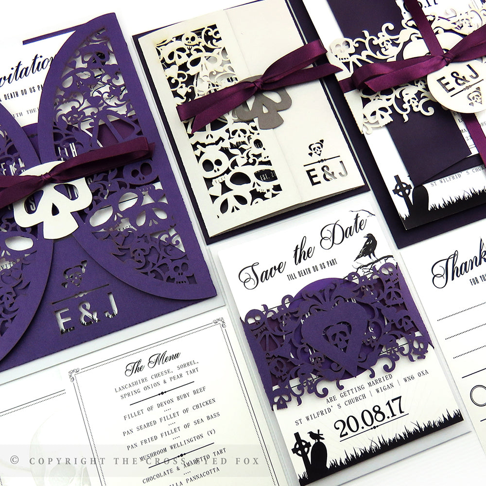 Gothic Skulls Laser Cut Wedding Stationery – The Cross-Eyed Fox