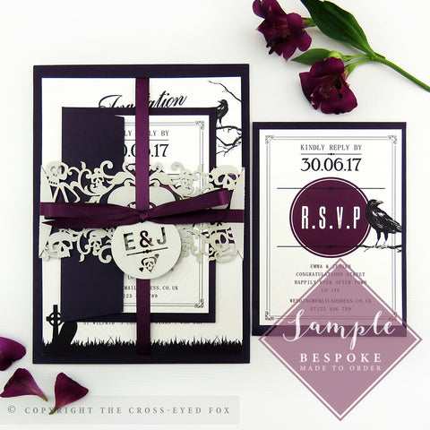 Gothic Skulls | Sample Set Wedding Invitation & Belly Band