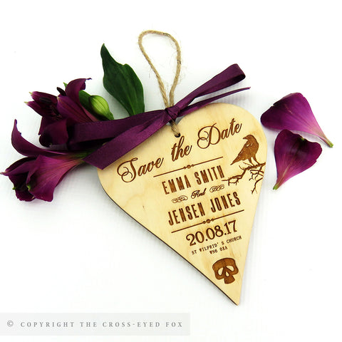 Gothic Skulls Wooden Save the Date Heart