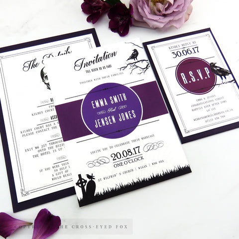 Gothic Skulls Wedding Invitations