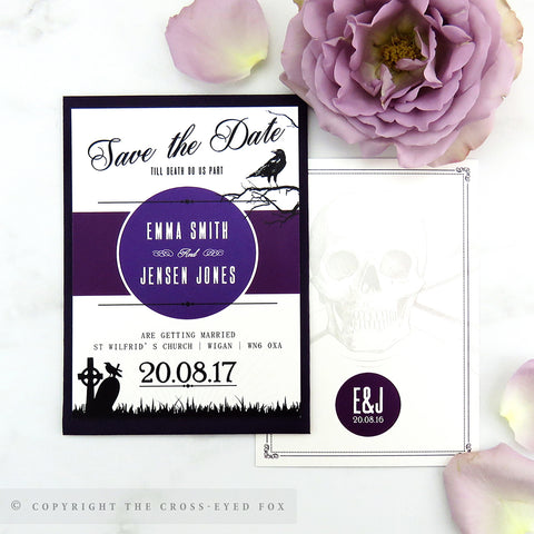 Gothic Skulls Wedding Save the Date Cards