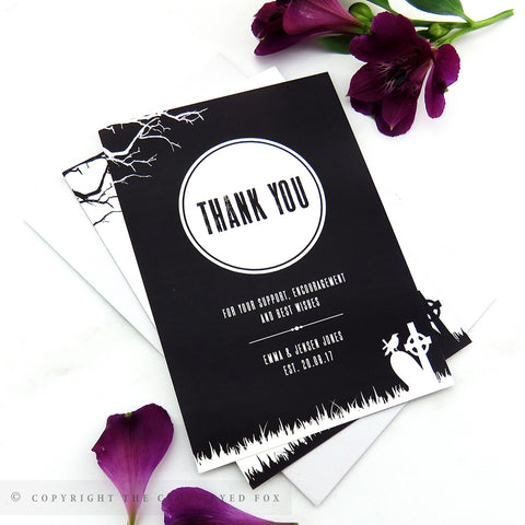 Gothic Skulls Wedding Thank You Cards