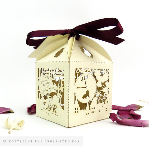 Labyrinth Inspired Wedding, Alternative wedding Favour Boxes, Laser cut alternative favor box