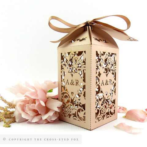 Vintage Love Birds wedding favor box, Extra large laser cut favour box, Rustic personalised favour, Blush wedding table decor