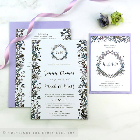 Romantic butterfly wedding invitation, Floral wedding, Soft Lilac wedding stationery suite, Summer wedding invitation, Butterfly wedding stationery.