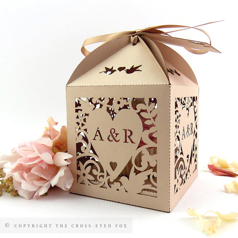 Cupcake box vintage wedding, Love birds wedding favor box, Laser cut blush wedding favour, Personalised cupcake box, Extra large favour box