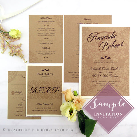 Vintage Love Birds Wedding Invitations | Print Sample Set