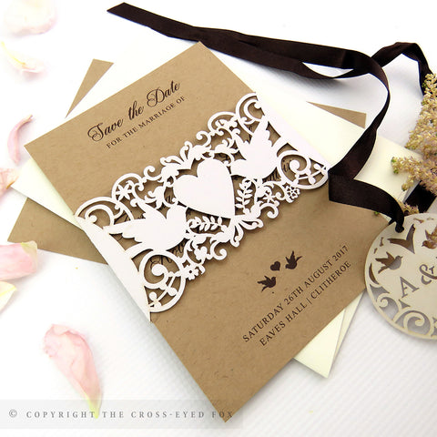 Vintage Love Birds Wedding Invitation A6 Belly Band