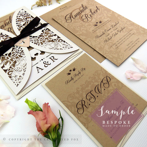 Vintage Love Birds Laser Cut Wedding Stationery | Full Sample Suite