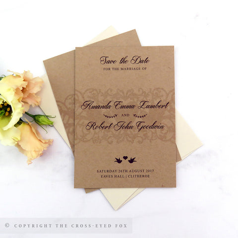 Vintage Love Birds Wedding Save the Date Cards