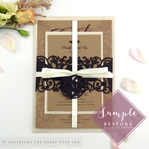 Vintage Love Birds | Sample Set Wedding Invitation & Belly Band